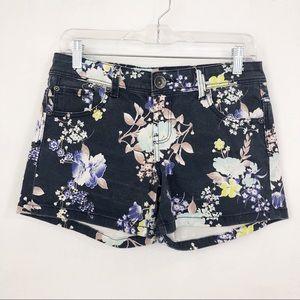 Colour navy floral denim shorts size 6